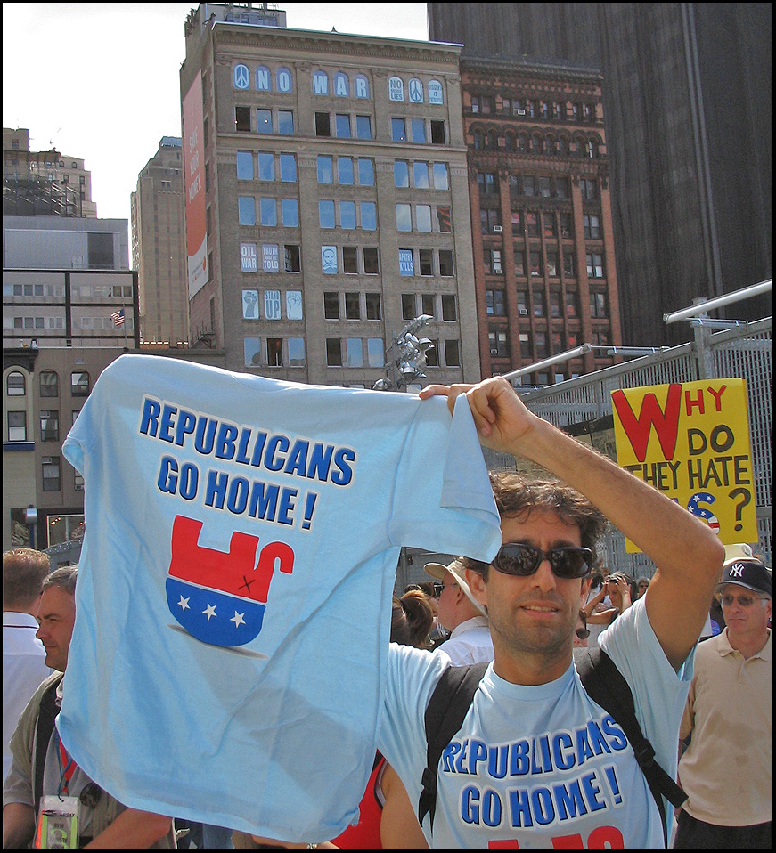 In front of the 'Liberty Street Protest' at the World Trade Center 'Ground Zero' during the RNC convention in New York City 2004 <br /> photo by Danny Boy O'Connor