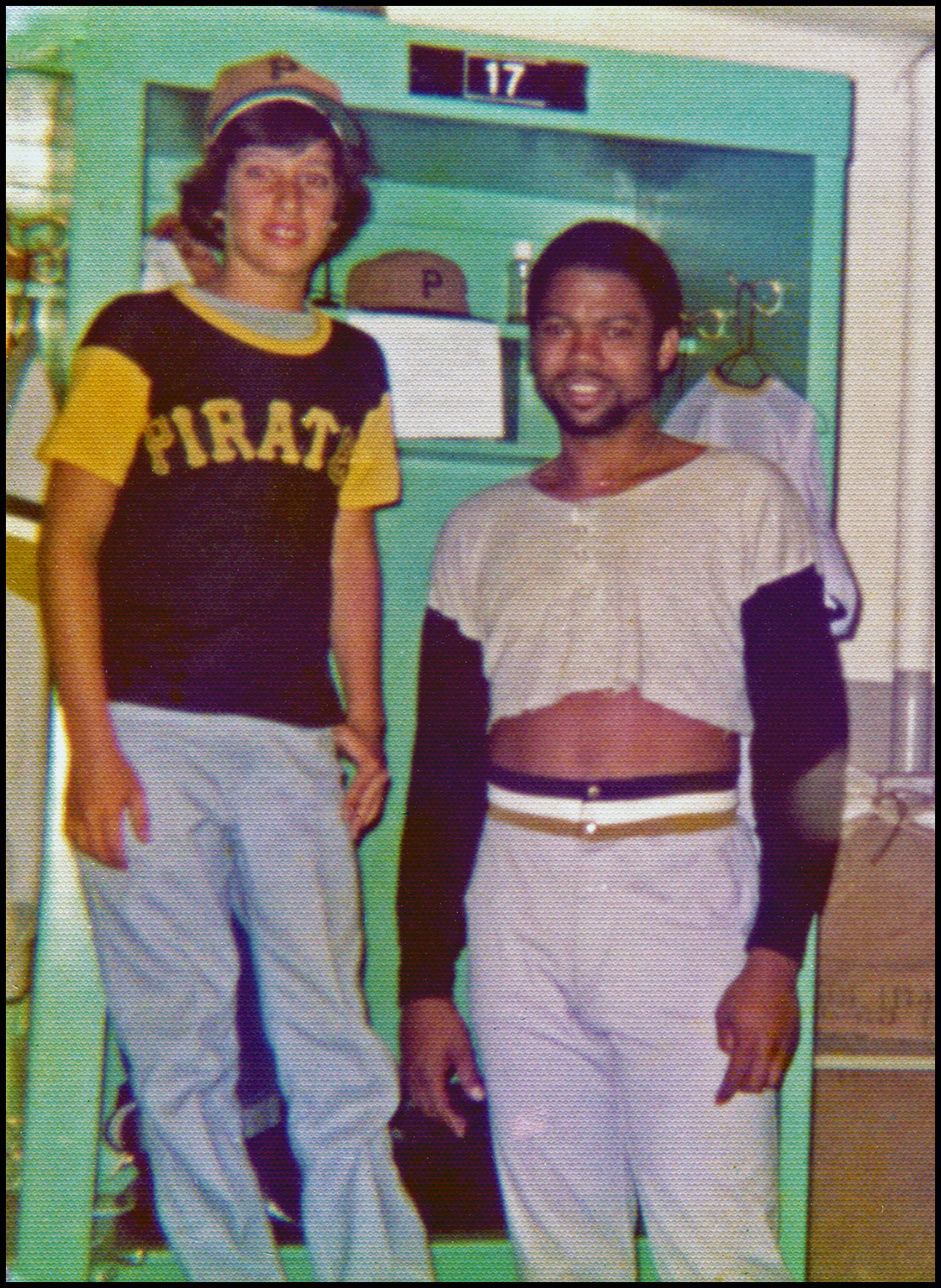 Standing on a bench by inspirational friend and idol, Dock Ellis. Early 70's in the club house locker room at Shea Stadium, NY<br /> photo by Al Oliver