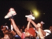 Adidas in the air at Madison Square Garden during Run-DMC's 'Tougher Than Leather' tour 1986