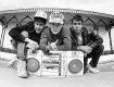 Beastie Boys outside KXLU college radio station on the Loyola Marymount University campus. circa 1985