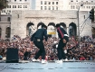 Run-DMC on stage in Downtown Los Angeles in front of the City Hall. Great show. Running from fans afterwards DMC broke his last pair of Cazal glasses. After that he opted for some bulky thick rimmed glasses on Melrose, and wore those for years. circa 1985